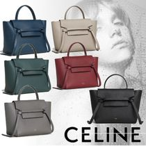CELINE Belt Calfskin 2WAY Plain Elegant Style Bold Handbags