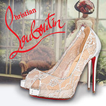 Christian Louboutin Flower Patterns Open Toe Platform Blended Fabrics Plain