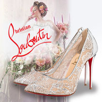 Christian Louboutin Flower Patterns Blended Fabrics Plain Leather Pin Heels