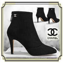CHANEL Tweed Plain Pin Heels Elegant Style Ankle & Booties Boots