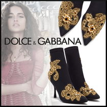 Dolce & Gabbana Flower Patterns Pin Heels With Jewels Elegant Style