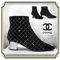 CHANEL Other Check Patterns Suede Block Heels Elegant Style