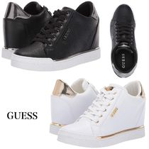 Guess Monogram Wedge Plain Toe Lace-up Casual Style Faux Fur