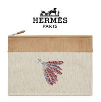 HERMES Canvas Fringes Pouches & Cosmetic Bags