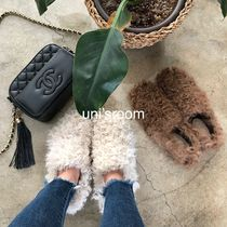 Round Toe Casual Style Fur Plain Slip-On Shoes
