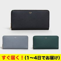 CELINE Zipped Calfskin Plain Long Wallets