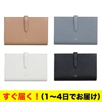 CELINE Strap Calfskin Plain Long Wallets