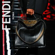 FENDI PEEKABOO Monogram A4 2WAY Leather Python Business & Briefcases