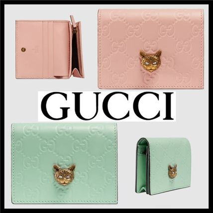 169951f272e ... GUCCI Folding Wallets Gucci Signature Card Case with Cat Leather  Folding Wallets ...