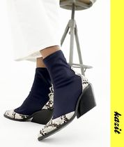 ASOS Casual Style Block Heels Python Ankle & Booties Boots