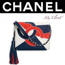 CHANEL ICON Lambskin Tassel Street Style 2WAY Bi-color Chain Party Style