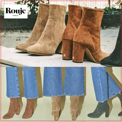 Rouje Ankle & Booties Plain Toe Casual Style Suede Plain Block Heels