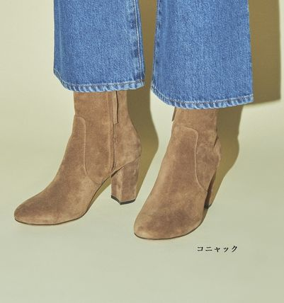 Rouje Ankle & Booties Plain Toe Casual Style Suede Plain Block Heels 2