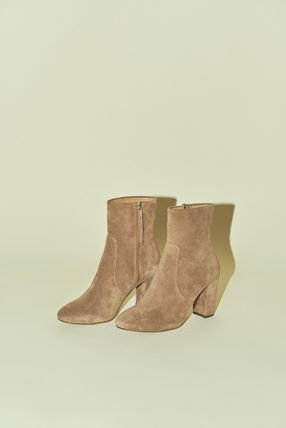 Rouje Ankle & Booties Plain Toe Casual Style Suede Plain Block Heels 4