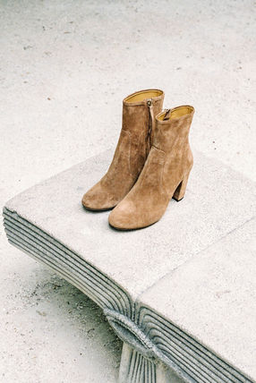 Rouje Ankle & Booties Plain Toe Casual Style Suede Plain Block Heels 5