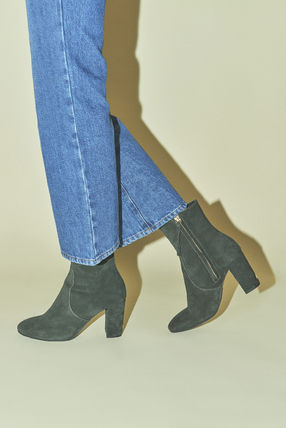 Rouje Ankle & Booties Plain Toe Casual Style Suede Plain Block Heels 7