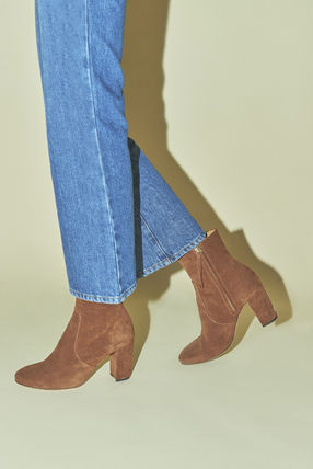 Rouje Ankle & Booties Plain Toe Casual Style Suede Plain Block Heels 13