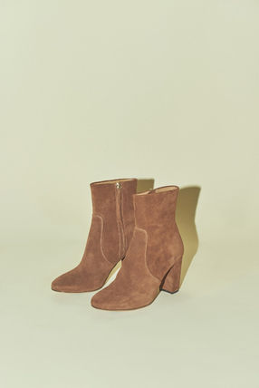 Rouje Ankle & Booties Plain Toe Casual Style Suede Plain Block Heels 14