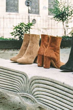 Rouje Ankle & Booties Plain Toe Casual Style Suede Plain Block Heels 15