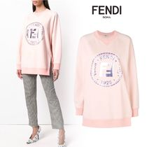 FENDI Long Sleeves Cotton Oversized Hoodies & Sweatshirts