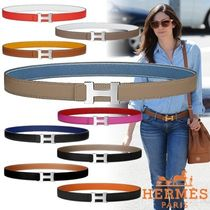 HERMES CONSTANCE Unisex Blended Fabrics Plain Leather Elegant Style Belts