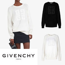 GIVENCHY Crew Neck Casual Style Cashmere Street Style Long Sleeves