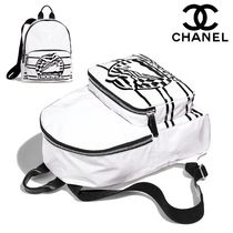 CHANEL Casual Style Blended Fabrics Plain Backpacks