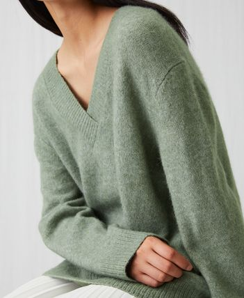 Short Casual Style Wool V-Neck Long Sleeves Plain Cropped