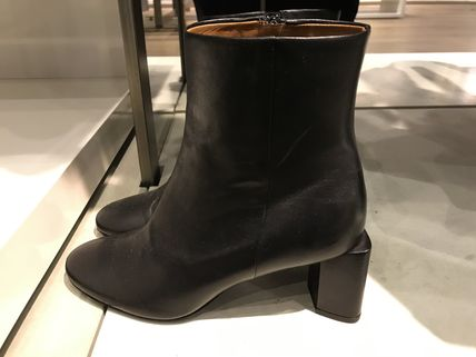 Plain Toe Leather Block Heels Ankle & Booties Boots