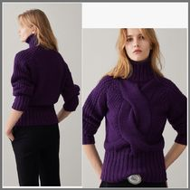 Massimo Dutti Cable Knit Casual Style Wool Long Sleeves Plain High-Neck