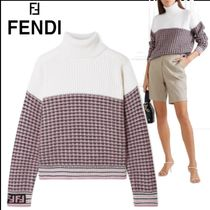 FENDI Other Check Patterns Casual Style Wool Long Sleeves