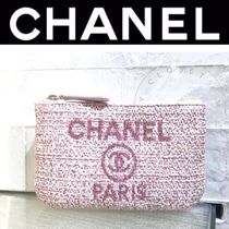 CHANEL DEAUVILLE Canvas Street Style Plain Pouches & Cosmetic Bags