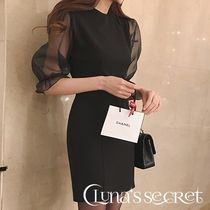 Short Tight U-Neck Plain Puff Sleeves Dresses
