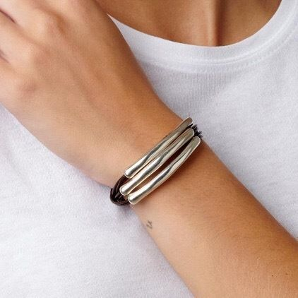 Casual Style Unisex Blended Fabrics Leather Handmade Silver