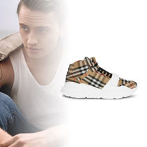 Burberry Other Check Patterns Unisex Sheepskin Street Style Sneakers