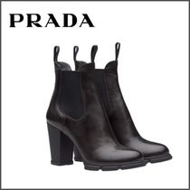 PRADA Plain Toe Plain Leather Block Heels Elegant Style