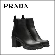 PRADA Round Toe Plain Leather Block Heels Elegant Style