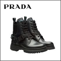 PRADA Round Toe Rubber Sole Blended Fabrics Plain Leather