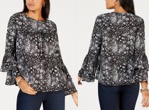 Michael Kors Crew Neck Flower Patterns Paisley Casual Style Long Sleeves
