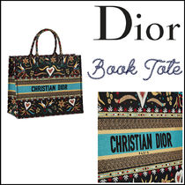 Christian Dior Heart Canvas Elegant Style Totes