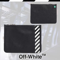Off-White Stripes Street Style Leather Clutches