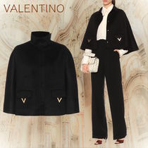 VALENTINO Stand Collar Coats Short Wool Plain Oversized Coats