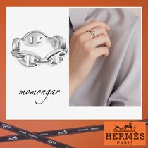 HERMES Costume Jewelry Casual Style Unisex Silver Rings