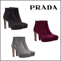 PRADA Plain Toe Suede Blended Fabrics Plain Pin Heels