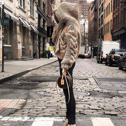 Cable Knit Short Casual Style Wool Street Style Plain