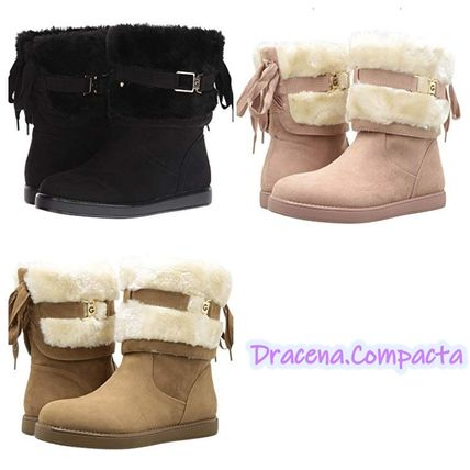 Platform Round Toe Casual Style Faux Fur Boots Boots