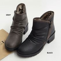 HOLLY Round Toe Casual Style Faux Fur Street Style Plain
