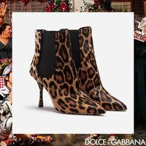 Dolce & Gabbana Leopard Patterns Fur Pin Heels Elegant Style