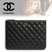 CHANEL Lambskin Bag in Bag Plain Elegant Style Clutches