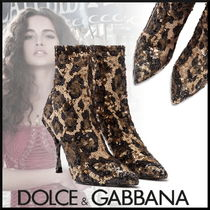 Dolce & Gabbana Leopard Patterns Pin Heels With Jewels Elegant Style